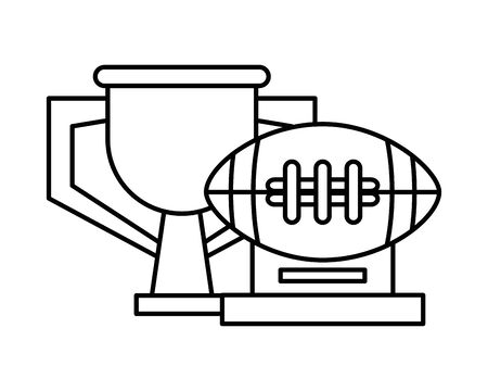 trophy cup and american football awards vector illustration design