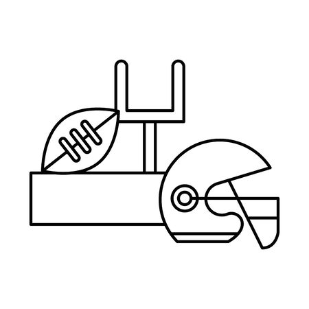 american football sport balloon with goal camp arch and helmet vector illustration