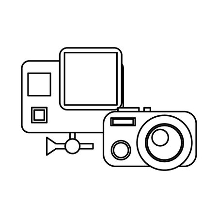 camera photographic device with action camera scanner facial vector illustration design