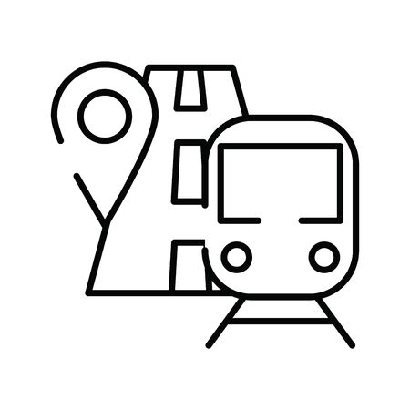 pin pointer location guide with road and subway vector illustration design 일러스트