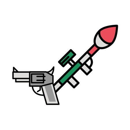 gun military force with rocket launcher vector illustration design