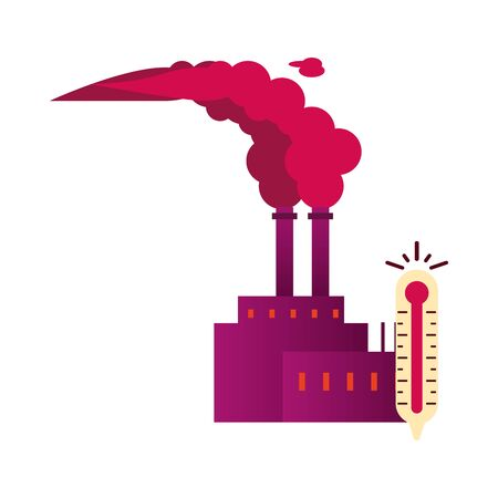 factory with polluting chimneys and thermometer vector illustration design