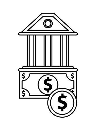 bills and coin money with bank building vector illustration design Zdjęcie Seryjne - 140199830