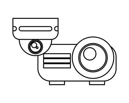 cctv video camera with video beam vector illustration design