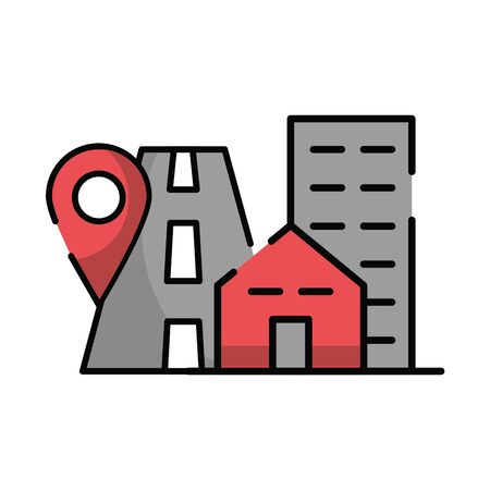 pin pointer location guide with road vector illustration design 일러스트