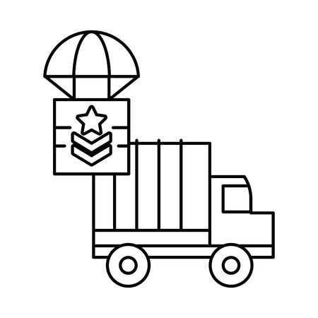 military force truck with box in parachute vector illustration design Ilustrace