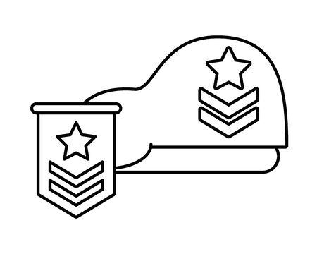 military force green beret with range medal vector illustration design Ilustrace