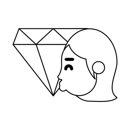 woman kissing diamond luxury stone vector illustration design