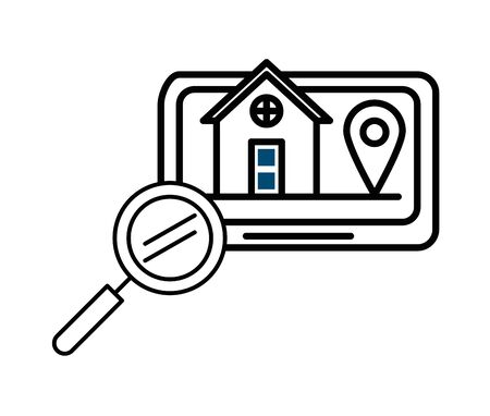 house front facade in tablet with magnifying glass vector illustration design