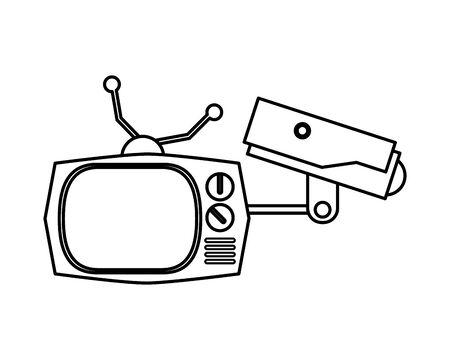 cctv video camera with tv retro vector illustration design Иллюстрация