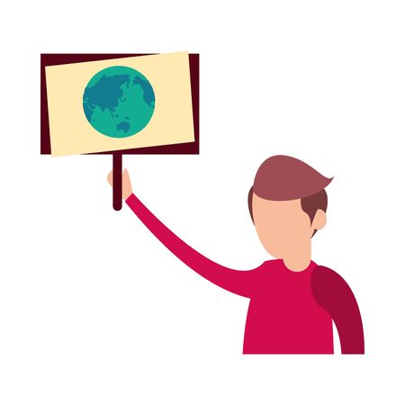 young man protesting with earth planet in label character vector illustration design