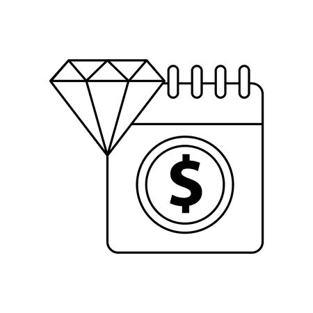 calendar with dollar symbol and diamond vector illustration design