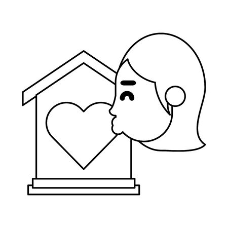girlfriend kissing heart love in house vector illustration design