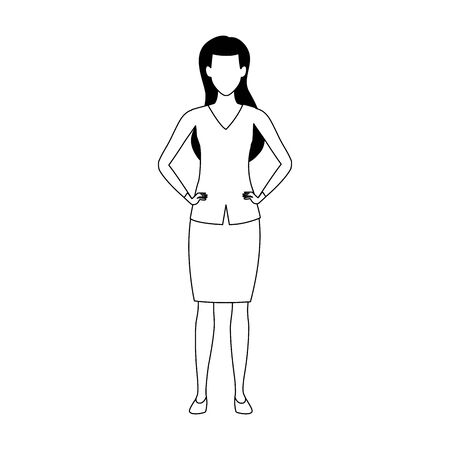avatar woman standing icon over white background, vector illustration Foto de archivo - 140202426