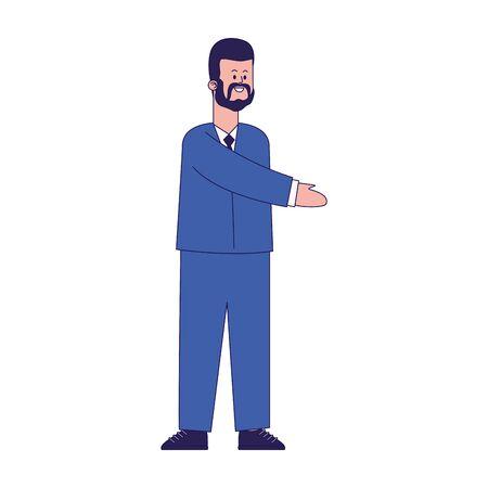 happy businessman standing icon over white background, colorful design, vector illustration Foto de archivo - 140202459