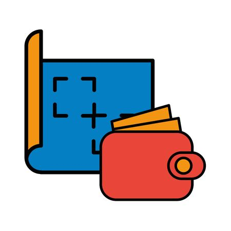 wallet money with paper document icon vector illustration design Ilustracja