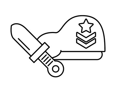 military force green beret and knife vector illustration design