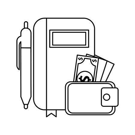 wallet with bills money dollars and agenda vector illustration design Ilustracja