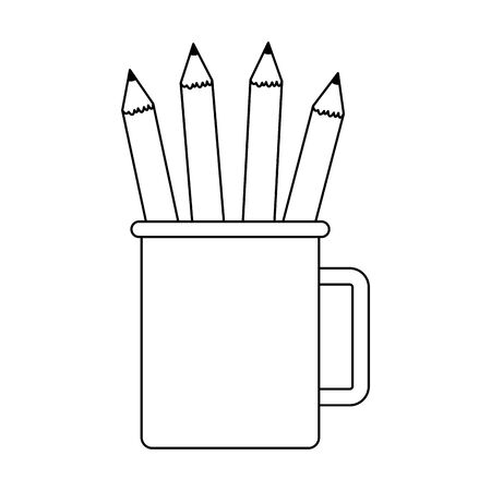 mug with pencils icon over white background, vector illustration