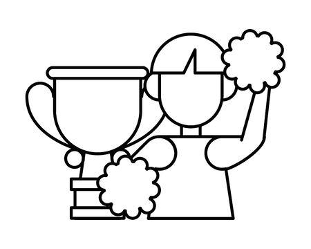 beautiful cheerleader with trophy cup vector illustration design