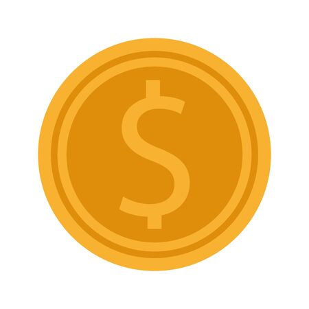 money coin icon over white background, flat design, vector illustration