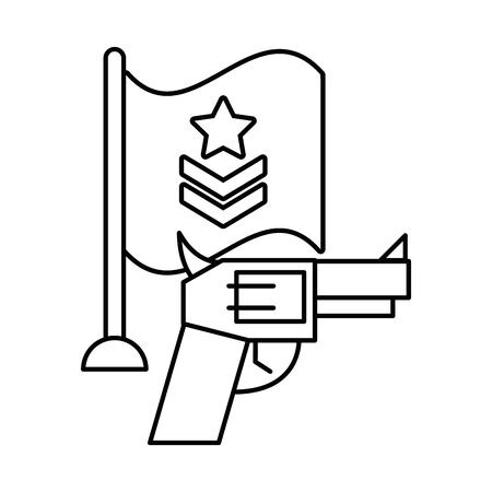gun military force with flag vector illustration design