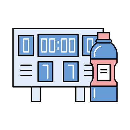 electronic scoreboard sport with water bottle vector illustration design