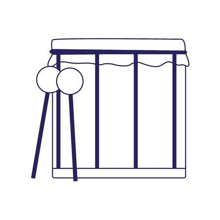drum and sticks icon over white background, vector illustration Ilustracja