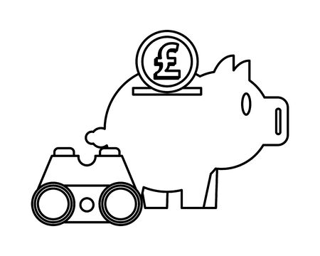 piggy savings with sterling pound and binoculars vector illustration design