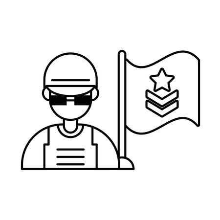 soldier military force with flag vector illustration design Ilustrace