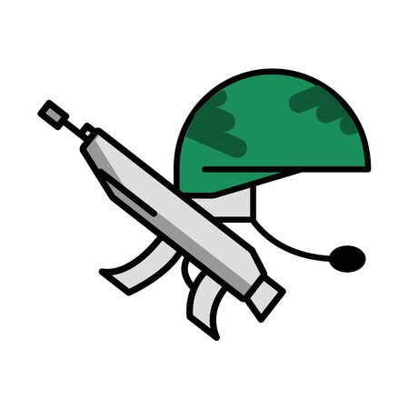gun military force with helmet vector illustration design Ilustrace