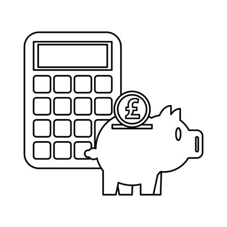 piggy savings money with calculator and pound sterling vector illustration design