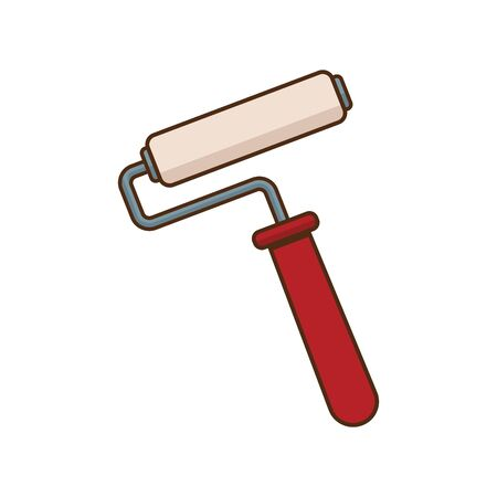 paint roller icon over white background, vector illustration
