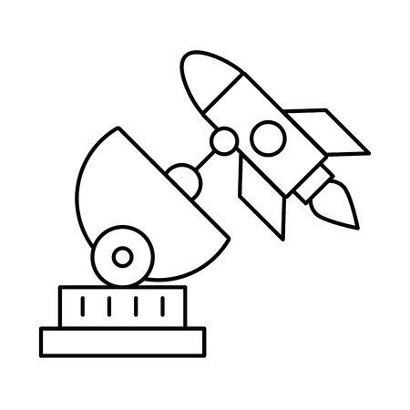 antenna satellite communication with rocket vector illustration design