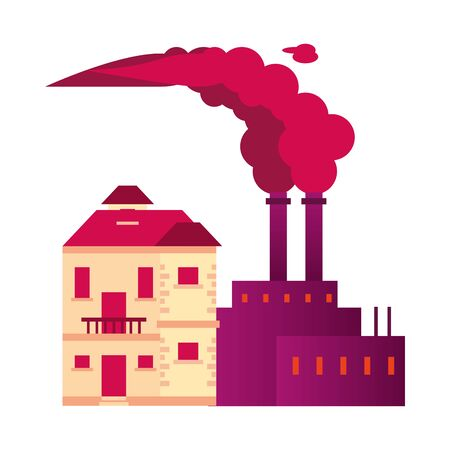 factory with polluting chimneys and house vector illustration design