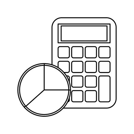 calculator math with statistics pie vector illustration design