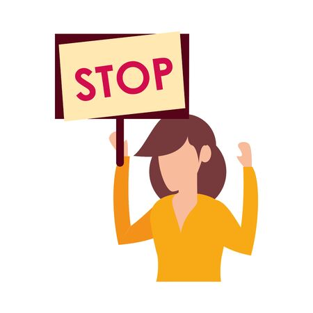 young woman protesting with stop label character vector illustration design
