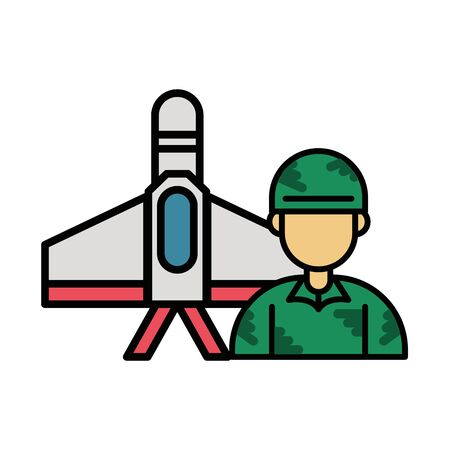 airplane military force with soldier vector illustration design Ilustrace