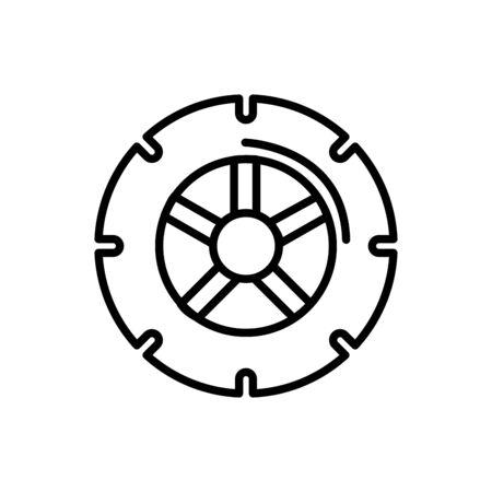 wheel car equipment transport linear design vector illustration Ilustracja