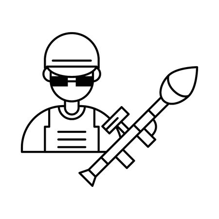 soldier military force with rocket launcher vector illustration design