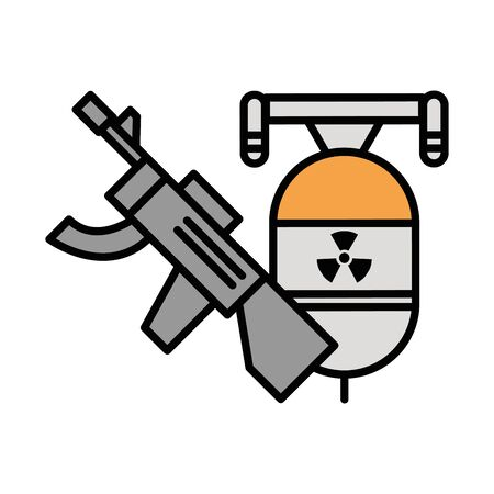 gun military force with bomb vector illustration design