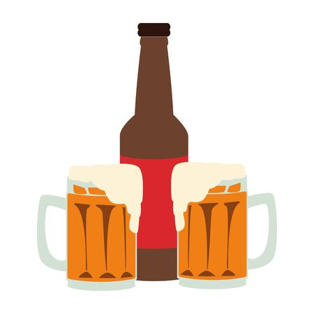 beer bottle and mugs over white background, vector illustration