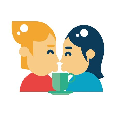 lovers couple with coffee cup and heart vector illustration design Иллюстрация