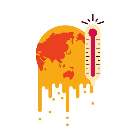 world planet melting global warming with thermometer vector illustration design