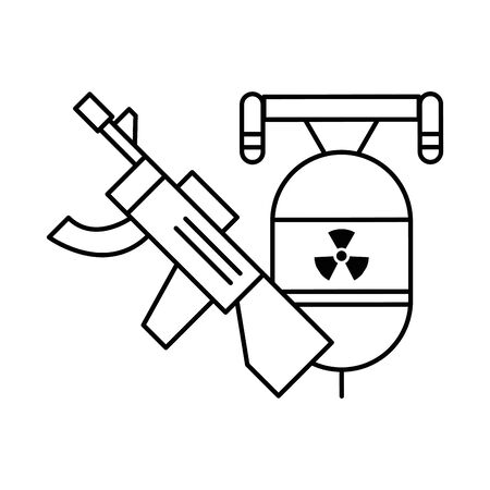 gun military force with flyer bomb vector illustration design