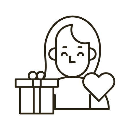 gift box present with heart and girlfriend vector illustration design