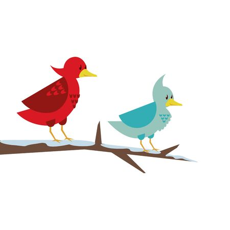 cute little birds in tree dry branche vector illustration design 向量圖像