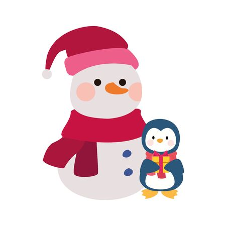 christmas snowman and penguin icon over white background, vector illustration 向量圖像