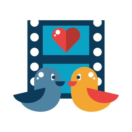 birds couple with heart love in tape record vector illustration design 向量圖像