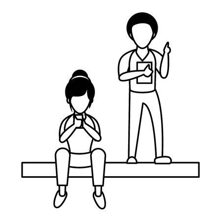 young couple using smartphone avatars characters vector illustration design Foto de archivo - 140200761